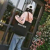 大包包韓版帆布包原宿字母手提單肩包 LQ4607『小美日記』