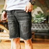 牛仔短褲 JerryShop【XX18808】暗黑刀割設計牛仔短褲 (1色) 五分褲 不修邊 刷破 割破