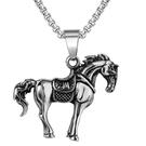 《QBOX 》FASHION 飾品【CP0751】精緻個性立體造型馬到成功鑄造鈦鋼墬子項鍊/掛飾