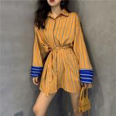 VK旗艦店 韓國風時尚條紋襯衫裙收腰顯瘦長袖洋裝