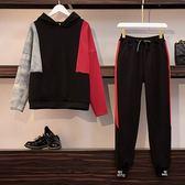 中大尺碼 棉花糖女生L-4XL大碼女裝秋裝新款時尚胖mm套裝褲休閑套頭衛衣褲子兩件套4F079.5169韓依紡