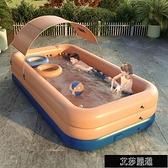 充氣游泳池 自動充氣兒童游泳池家用室內外無線遮陽成人小孩大型加厚折疊浴缸