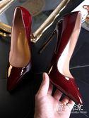 12cm高跟鞋  時尚酒紅色12cm超高跟鞋女細尖頭淺口黑色漆皮OL女鞋大碼鞋