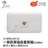 中一 大面板系列 JY-8P8C(CAT-6) 一資訊單插座蓋板組(Cat6e)