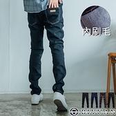 內刷毛牛仔褲【OBIYUAN】 保暖 素面 彈性 丹寧 小皮標 長褲 共4色【HK3201】