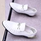 夏季男士英倫商務婚鞋青少年尖頭白皮鞋韓版休閒男款潮鞋2020新款「時尚彩紅屋」