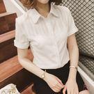 大尺碼襯衫白色襯衫女短袖2018新品襯衣...