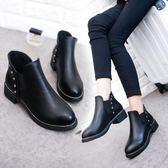 秋冬季短靴女靴子中粗跟圓頭馬丁靴女柳釘棉靴復古英倫風切爾西靴 交換禮物