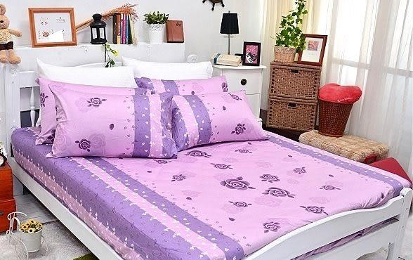 玫瑰紫小花(K)、100% 精梳棉 【床包6X6.2尺/枕套X2/雙人被套(無鋪棉)】4件組 台灣製