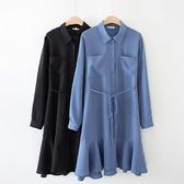魚尾襯衫洋裝(附綁帶)-中大尺碼 獨具衣格