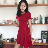 正韓chic風復古小心機性感鏤空顯瘦繫帶小黑裙夏季修身短袖連身裙 洋裝
