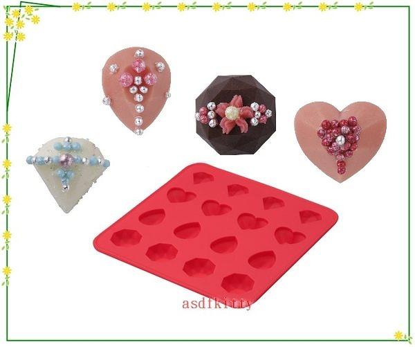 asdfkitty可愛家☆貝印鑽石愛心16格矽膠模型-可做巧克力.冰塊.果凍.手工皂日本正版