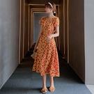 洋裝 連身裙法式復古小個子連身裙女夏桔梗...