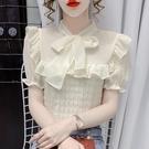 荷葉邊上衣 2021夏裝新款甜系蝴蝶結荷葉邊設計感小眾短袖襯衫女法式雪紡上衣 寶貝寶貝計畫 上新