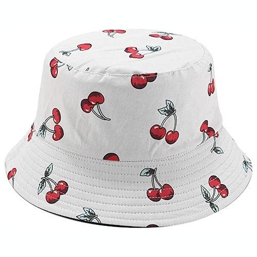 女防曬遮陽雙面漁夫帽(櫻桃)