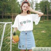 櫻花刺繡t恤韓版喇叭袖荷葉邊上衣
