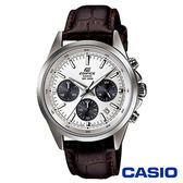 CASIO卡西歐 計時防水動感賽車石英皮革男腕錶-白x43mm  EFR-527L-7A