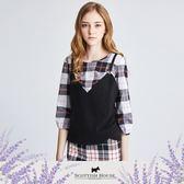 格紋上衣X針織背心假兩件式七分袖造型上衣 Scottish House【AI1419】