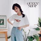 Queen Shop【01037960】Shark鯊魚印花上衣 兩色售*現+預*