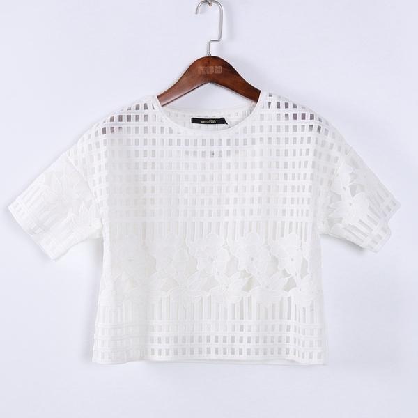 [超豐國際]格春夏裝女裝白色鏤空短款淑女休閑衫 散91210(1入)