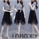 襯衫洋裝 夏裝2021年新款韓版休閒洋氣質條紋襯衫網紗連身裙子女小個子高端 百分百