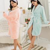 秋冬睡衣 泰迪熊毛毛睡袍-睡裙(兩色:藍綠、粉)-保暖、居家服_蜜桃洋房