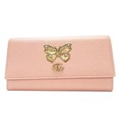 GUCCI 古馳 粉色牛皮古銅蝴蝶雙G釦二折長夾 Butterfly Continental Wallet  BRAND OFF