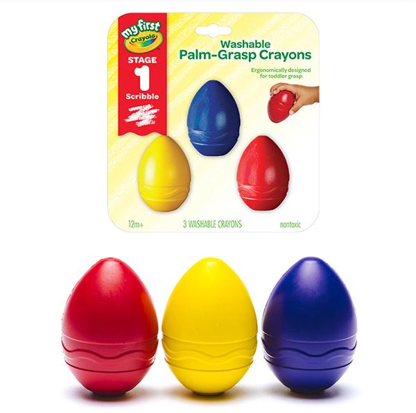 美國Crayola繪兒樂 幼兒可水洗掌握蛋型蠟筆3色(紅/黃/藍) 麗翔親子館