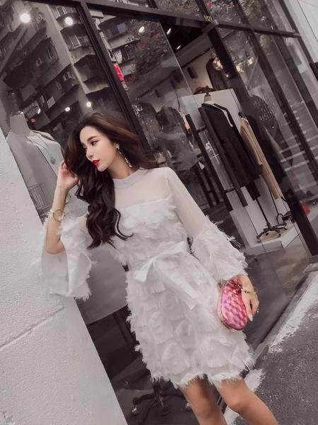 秋裝新款韓版氣質網紗流蘇半高領喇叭袖綁帶收腰A字裙洋裝