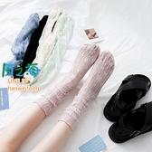 蕾絲襪 3雙裝 中筒襪蕾絲堆堆襪薄款網紗玻璃襪日系潮涼鞋襪襪子女【風之海】