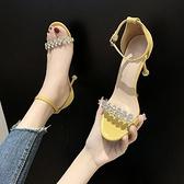 高跟鞋 夏季水鑚時裝涼鞋女仙女風一字帶女鞋時尚細跟高跟鞋子-Ballet朵朵