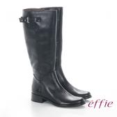 effie 魅力時尚 真皮立體壓紋低跟直筒長靴 黑色