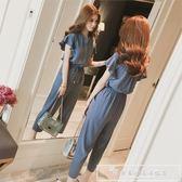 時尚套裝女夏季2019新款雪紡氣質高腰 闊腿九分褲時髦兩件套『韓女王』