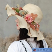 草帽子女夏天遮陽帽沙灘小清新防曬帽海邊花朵度假遮臉大檐太陽帽 3C數位百貨