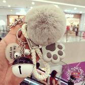 一件免運-鑰匙圈正韓創意時尚喵星人鑰匙扣女可愛發光發聲貓爪獺兔毛球車鑰匙掛鍊