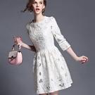 蕾絲連身裙-歐美高端鏤空修身顯瘦七分袖洋裝72f27【巴黎精品】