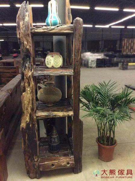 【大熊傢俱】老船木 置物架 收納架 層架 展示架 藝品架 原木架 實木櫃 原生態