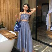 韓版chic時尚修身荷葉邊抹胸上衣大裙擺高腰裙子兩件套套裝女   魔法鞋櫃