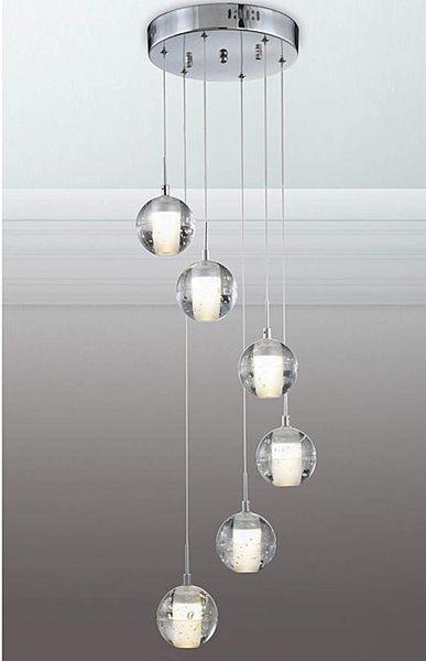 水晶玻璃圓球LED吊燈─高10-150CM寬25─2WX6【雅典娜家飾】A716211