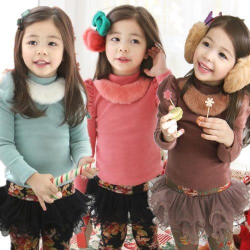 長袖上衣 韓版女童內里加厚不倒絨高領上衣 W63026