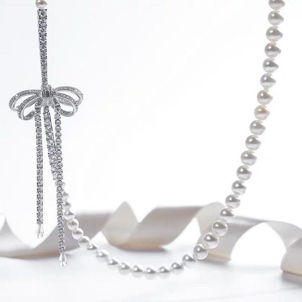 迪麗熱巴款長珍珠項鏈毛衣鏈蝴蝶結裝飾扣配件925