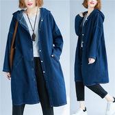 外套【K62】FEELNET中大尺碼女裝2018秋裝韓版中長款連帽牛仔長袖外套 均碼