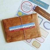 【BlueCat】沐光復古木頭色草寫英文信封