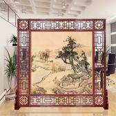 現代中式辦公室實木屏風房間酒店進門隔斷座屏客廳山水玄關門折屏 英雄聯盟igo