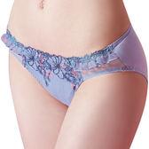 思薇爾-啵時尚花漾女神系列M-XXL蕾絲刺繡中低腰三角內褲(鋯石藍)