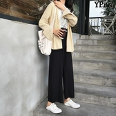 【YPRA】韓版 百搭 褲子 寬鬆 顯瘦 休閒褲 高腰 闊腿褲 九分 直筒褲