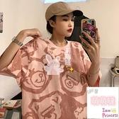 短袖T恤夏季小熊短袖t恤女寬鬆半袖歐美hiphop上衣【萌萌噠】