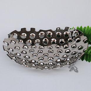 陶瓷 水果盤 家居裝飾擺件 心形鍍銀