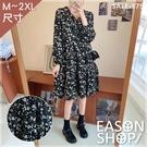 EASON SHOP(GW8204)韓版文青法式複古碎花長袖V領連身裙女洋裝小個子洋氣高腰顯瘦大裙襬寬鬆長裙