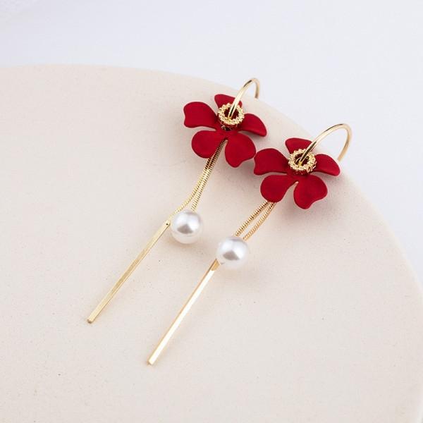 長款耳環 925銀針韓國珍珠花朵紅色流蘇百搭氣質長款耳釘耳環GDB507-B.81982 胖丫